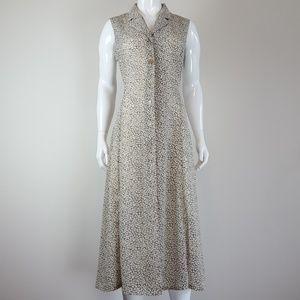 Vintage 90's Cream & Green Floral Midi Dress